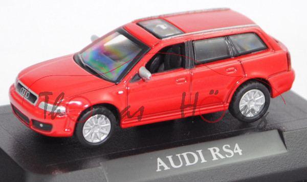 Audi RS 4 (Baureihe B5 Facelift, Typ 8D5, Mod. 99-01), misanorot, Heckscheibe weg, Schuco, 1:72, mb