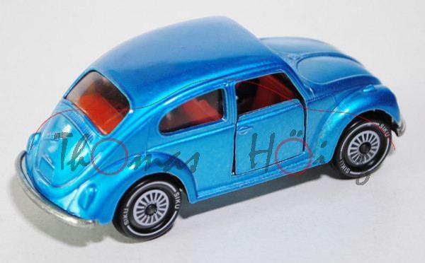 00001 VW Käfer 1300 (Typ 11, Modell 1965-1970), verkehrsblaumetallic, innen rotorange, Lenkrad rotor
