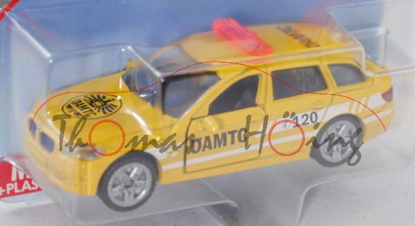 03800 BMW 520i Touring (Typ F11, Modell 2013-), hell-signalgelb, Heckleuchten sep. eingesetzt, ÖAMTC
