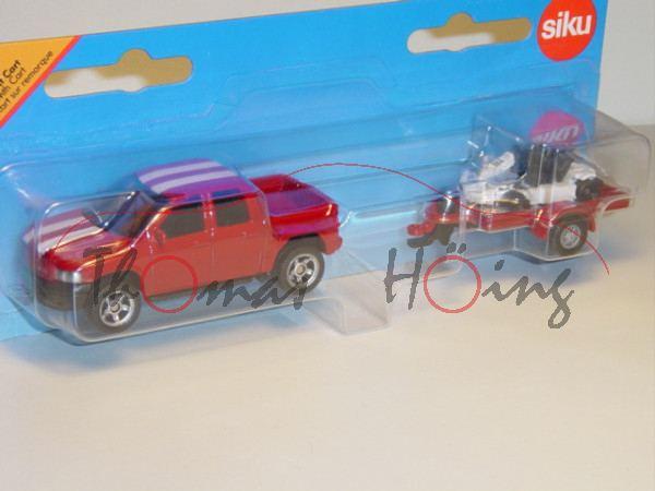 00002 Pick-Up mit Anhänger und Cart, rubinrot mit weißen Streifen und reinweiß, P28