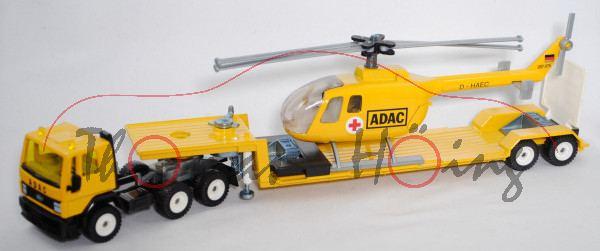 00007 Ford Cargo (Typ 110, Mod. 82-96) mit Sattelauflieger + Hubschrauber, gelb/schwarz, Maul zu
