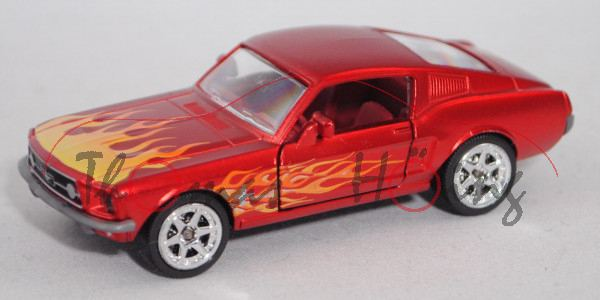 Ford Shelby Mustang I Fastback (2. Gen., Mod. 1967-1968) (290A-1), rotmetallic, majorette, 1:62, mb