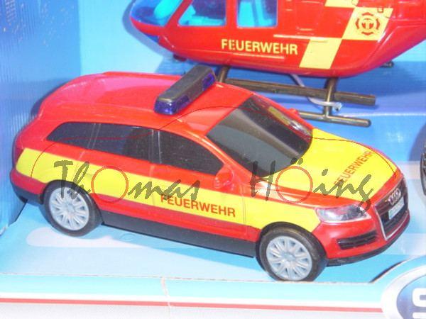 Audi Q7, Mj. 05, karminrot, FEUERWEHR, mit Frictionsmotor, Set mit Transporter und Hubschrauber, DIC