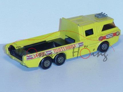 Racing Car Transporter, zinkgelb, STP Firestone TEAM MATCHBOX, Ladegut+Laderampe+Dachabdeckung weg,
