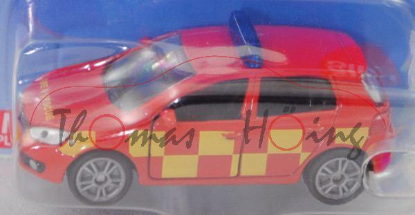 00601 GB VW Golf VI 2.0 TDI (Typ 1K, Modell 2008-2012) Feuerwehr, rot, FIRE & RESCUE, SIKU, P29e