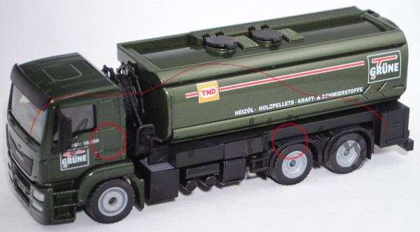 00402 MAN TGS 18.320 (Mod. 13-17) Tankwagen, chromoxydgrünmetallic, GRÜNE, SIKU, 1:50, Werbebox