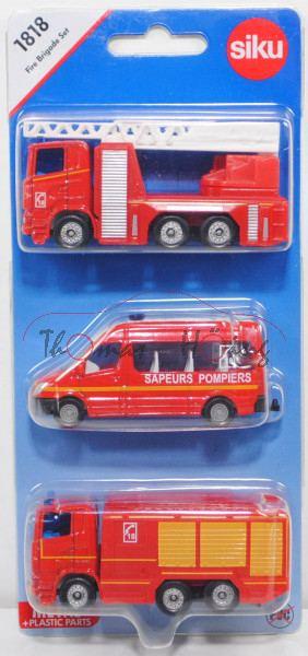 00100 F Fire Brigade Set mit Scania R380 Fire Truck + MB Sprinter II + Scania R380 Fire Engine, P29e