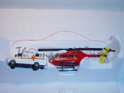 00600 GB-Rettungsdienst-Set bestehend aus Mercedes Sprinter und Hubschrauber, weiß und rot/gelb, AMB