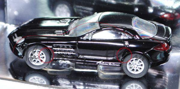 Mercedes-Benz SLR McLaren (Baureihe C199), Modell 2004-2009, schwarz, blackline design by siku, 1:55
