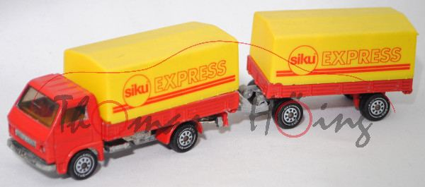00001 MAN-VW 9.136 F (Typ G90, Mod. 79-87) mit Pritsche und Anhänger, rot, siku® EXPRESS in rot, m-