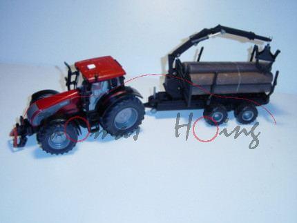 00000 Valtra T191 mit Forstanhänger, rotmetallic/schwarz, mit Fahrer, L17 (limitiertes Sondermodell)