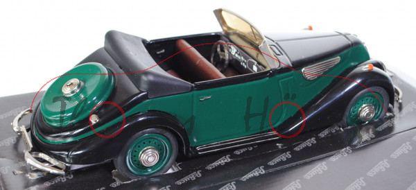 BMW 327 Cabrio, Modell 1937-1941, moosgrün/schwarz, incl. Werkzeug, Schuco Classic, 1:18, mb (Schach
