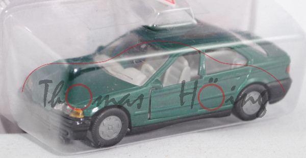 00000 BMW 320i (Baureihe E36, Modell 1992-1996), moosgrünmetallic, innen lichtgrau, Lenkrad lichtgra