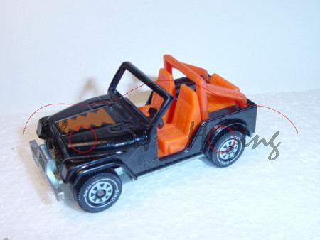 Jeep CJ-5, Modell 1976-1983, schwarz, Bügel rotorange, rotbraunes Emblem auf Motorhaube, für Kellogs