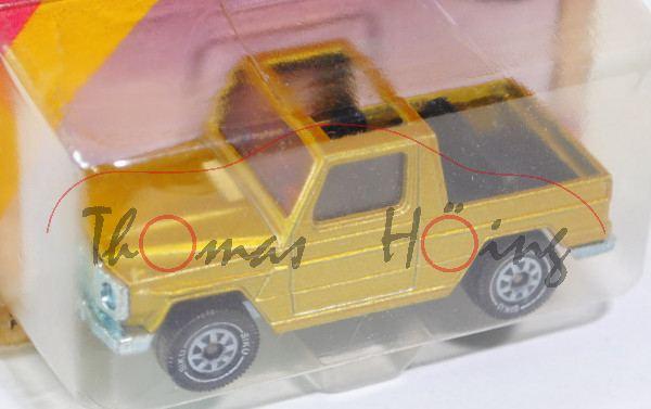 00000 Mercedes 280 GE (Typ W 460), Modell 1980-1990, honiggelbmetallic, innen schwarz, Chassis chrom