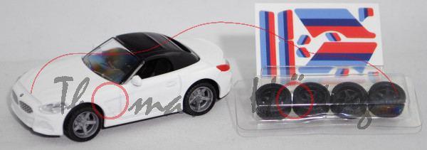 00000 BMW Z4 M40i Roadster (Baureihe G29, Modell 2019-), weiß, LKW48 schwarz, SIKU 1:50, L17mpK