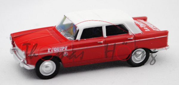 Peugeot 404 (Modell 1960-1975) Cycliste - Directeur de la Course, rot, Dach weiß, Le Parisien