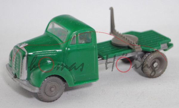 00000 Langholz-Transporter Borgward (Modell 1952-1957) ohne Anhänger, grün, 1 Runge abgebrochen