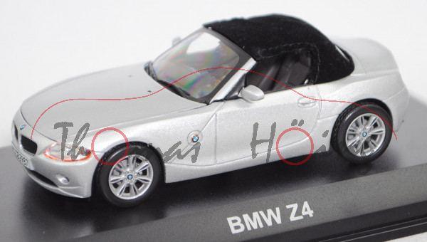 BMW Z4 Roadster 3.0i mit Stoffverdeck (E85, Modell 2002-2006), titansilber met., Norev, 1:43, PC-Box