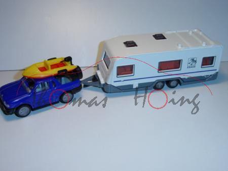 Opel Frontera (neu) mit Wohnwagen, blau/weiß, KNAUS (neuer Druck), L15