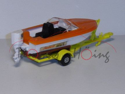 Powerboat & Trailer, verkehrsorange/weiß und schwefelgelb, Seabrust SUPER 70, Matchbox King Site