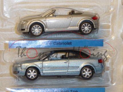 Audi TT Roadster, Mj. 99, silbermetallic, ohne Verdeck und Audi A4 Cabrio, Mj. 2003, hellblaumetalli