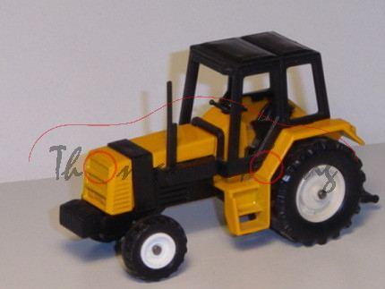 Renault 145-14 TX Traktor (Modell 1981-1986), melonengelb, Sitz schwarz, Lenkrad schwarz, Kabine sch
