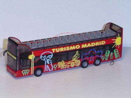 01101 MAN Doppelstock Sightseeing Bus, karminrot, TURISMO MADRID, 1:87, P29, ES