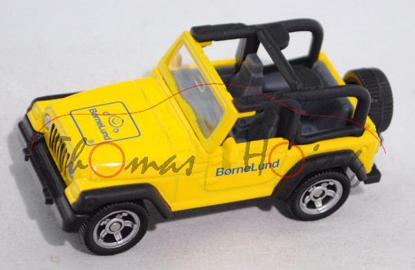 J Jeep Wrangler TJ 4.0 (Modell 1997-2006), hell-verkehrsgelb/mattschwarz, BørneLund / 2009, Werbebox