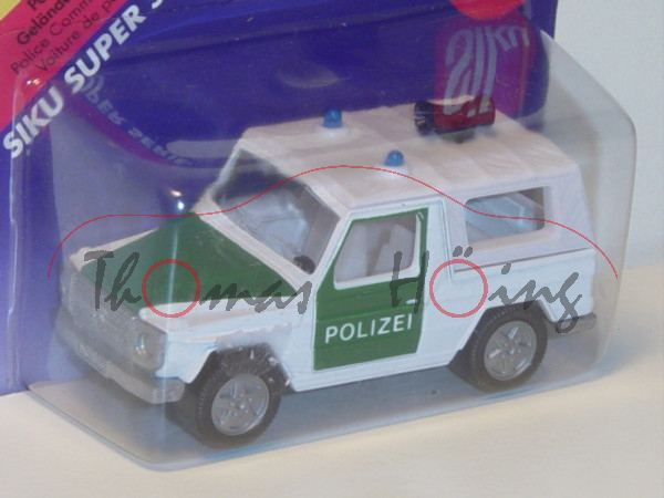 Mercedes-Benz 280 GE (Typ W 460, Modell 1980-1990) Polizei-Geländewagen, reinweiß/moosgrün, innen li