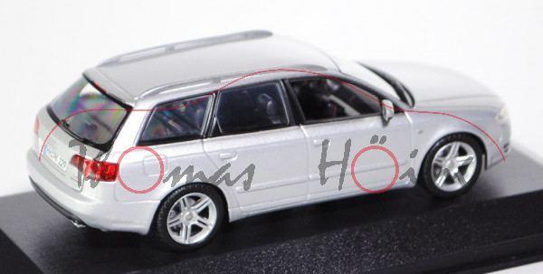 Audi A4 Avant (B7, Typ 8E), Modell 2004-2008, lichtsilber, Minichamps, 1:43, Werbeschachtel