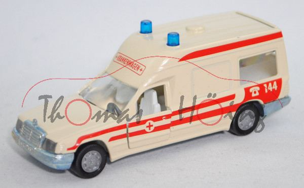 03800 A Mercedes-Benz 260 E (BR VF 124 E 26, Mod. 1986-1989) Binz-Ambulanz, hellelfenbein, 144, L14n