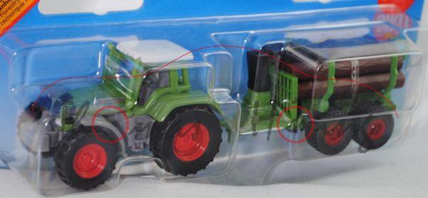 Fendt Favorit 926 Vario (Mod. 00-02) mit Forstanhänger mit Zwei-Achs-Fahrgestell, weiß/hell-grasgrün