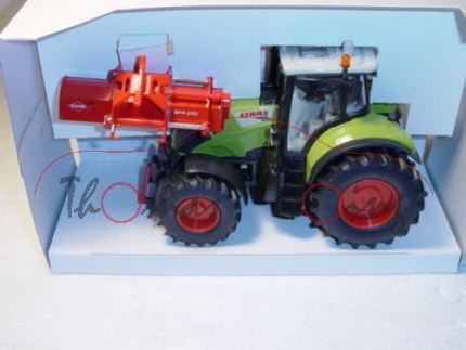 00000 Claas Axion 850 mit Mulchgerät Kuhn, claasgrün/cremeweiß und rot, L17 (limitiertes Sondermodel