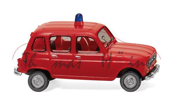 Feuerwehr - Renault 4L (Typ R4, Modell 1967-1974, Baujahr 1967), feuerrot, Wiking, 1:87, mb