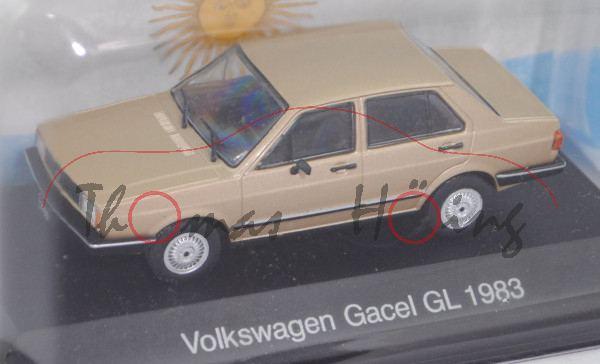 VW Gacel GL (Typ viertürige Limousine, Mod. 1983-1991), goldmet., EDITION ATLAS, 1:43, Hauben-Box