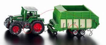 Traktor mit Heuladewagen, grün/grün/beige, P28