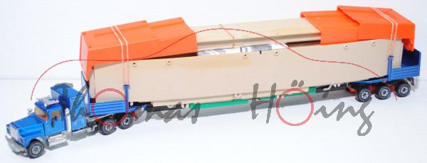 00000 Mack Conventional R612 (Modell 1966-1990) Schwertransporter mit Brücke, verkehrsblaumetallic