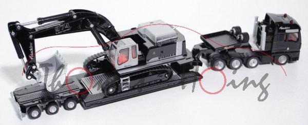 MAN Schwertransport mit Tiefbettauflieger und Liebherr 974 Litronic Raupenhydraulikbagger, schwarz/s