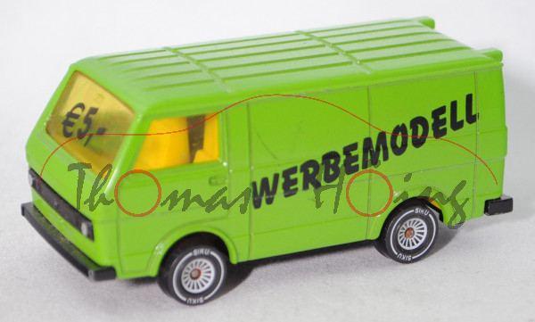 VW LT 28 Kastenwagen 2.0 (1. Gen., Modell 1975-1982), gelbgrün, WERBEMODELL / € 5,-, Werbeschachtel