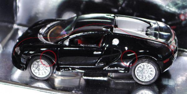 Bugatti EB 16.4 Veyron, Modell 2005-2012, schwarz, blackline design by siku, 1:55, Werbeschachtel