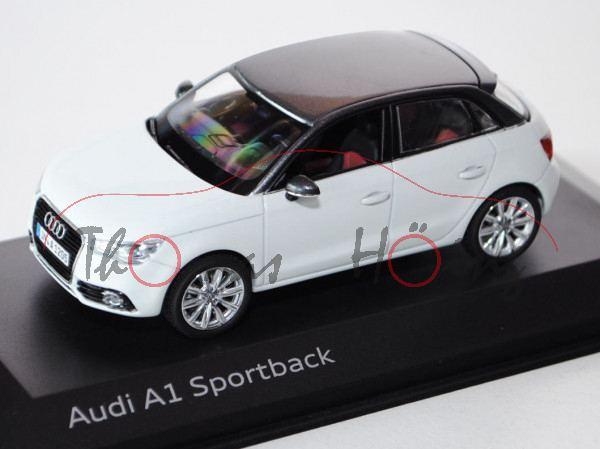 Audi A1 Sportback (Typ 8XA, Modell 2012-2014), gletscherweiß, Kyosho, 1:43, Werbeschachtel