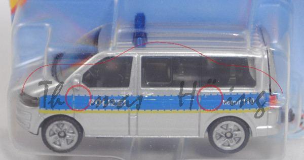 00006 VW T5 facelift (Mod. 09-15) Polizei-Mannschaftswagen, weißalu/blau, hohe Blaulichtleiste, P29e