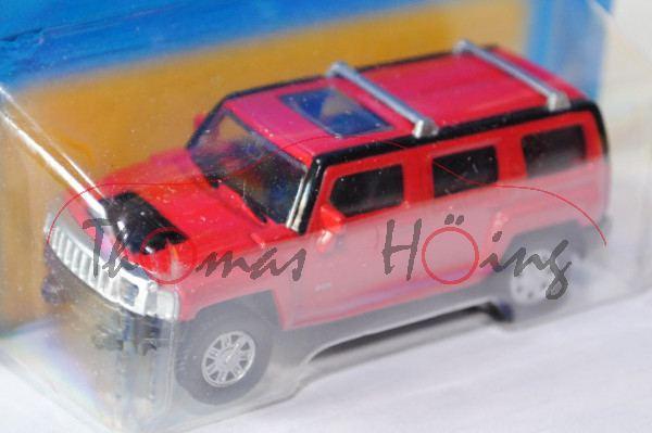 Hummer H3, karminrot, innen schwarz, Free Wheel, Unifortune RMZ City, 1:65 (3 inches Scale Model), m
