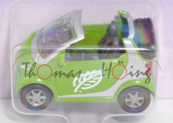 smart fortwo cabrio passion (Typ A 450, Mod. 00-03), hell-gelbgrün/weißalu, Gasmobil-Logo, P26