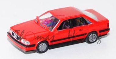 Audi V8 (D11, Typ 4C), Modell 1988-1994, verkehrsrot, Aero-Felgen, Rietze, 1:87, Werbeschachtel