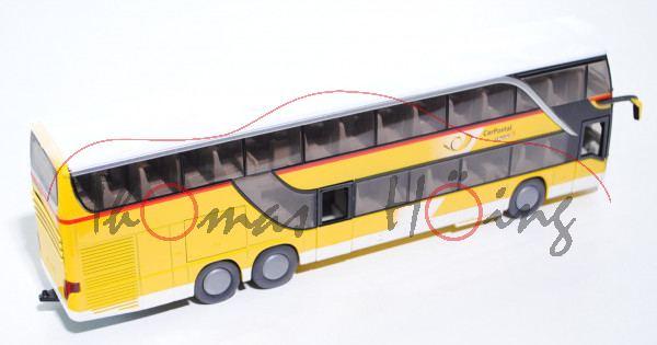 03900 Setra TopClaas S 431 DT Doppelstock-Reisebus, gelb/reinweiß, links: PostAuto / DIE POST, recht