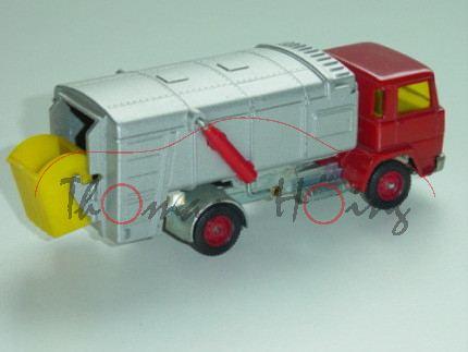 Magirus Müllwagen, verkehrsrot/silber, innen grau, Lenkrad schwarz, Fac, Verglasung gelb, Mülltonne