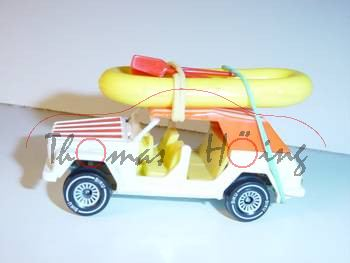 VW Typ 181 1600 (Modell 1973-1980) Strandwagen mit Boot, perlweiß, innen zinkgelb, Lenkrad zinkgelb,