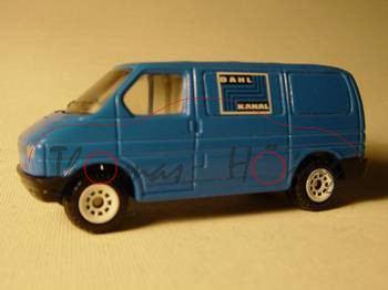 VW T4 Transporter Kastenwagen (Modell 1990-1995), himmelblau, innen lichtgrau, Lenkrad integriert, D